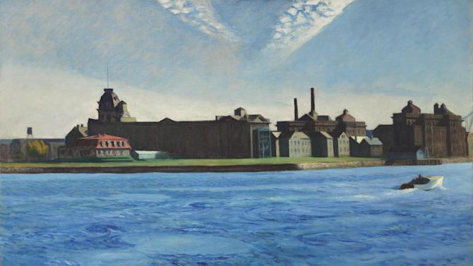 """This image provided by Christie's auction house shows the painting """"Blackwell's Island"""" by Edward Hopper. Painted in 1928, it's been exhibited in major museums, including New York's Museum of Modern Art, The Whitney Museum of American Art and the Museum of Fine Arts in Boston. The painting of Roosevelt Island, once known as Blackwell's Island, in New York City will be auctioned May 23 at Christie's, where it's estimated to sell for up to $20 million.  (AP Photo/Christie's)"""