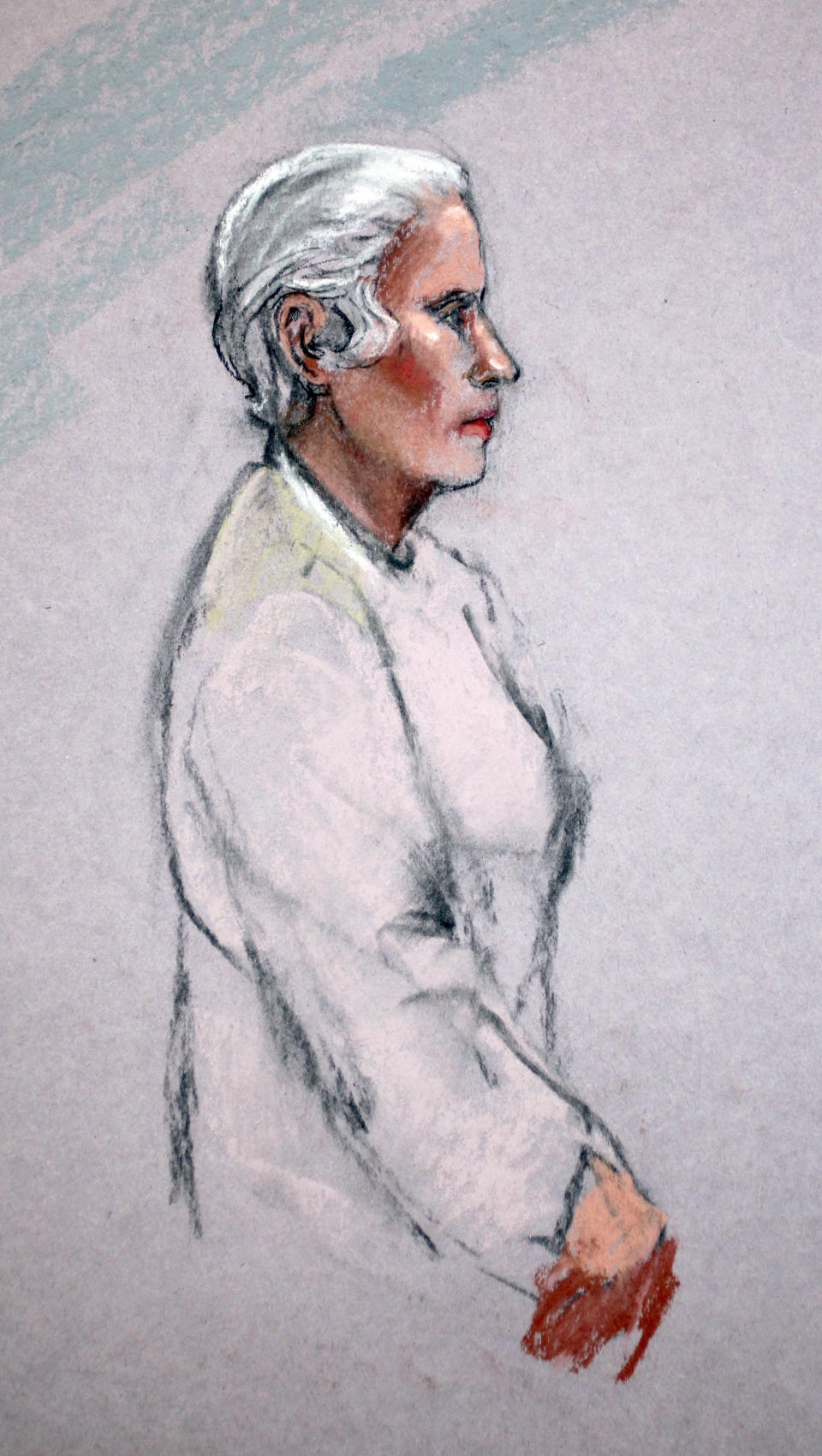 "In this courtroom sketch, Catherine Greig, girlfriend of James ""Whitey"" Bulger, is shown during her initial appearance in a federal courtroom in Boston Friday, June 24, 2011.  (AP Photo/Jane Flavell Collins)"