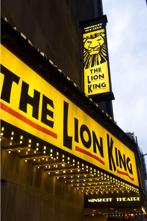 "FILE - In this Jan. 19, 2012 file photo,""The Lion King"" marquee is displayed at The Minskoff Theatre in New York. Disney Theatrical Productions said Wednesday, July 10, 2013, that the show's total tou"