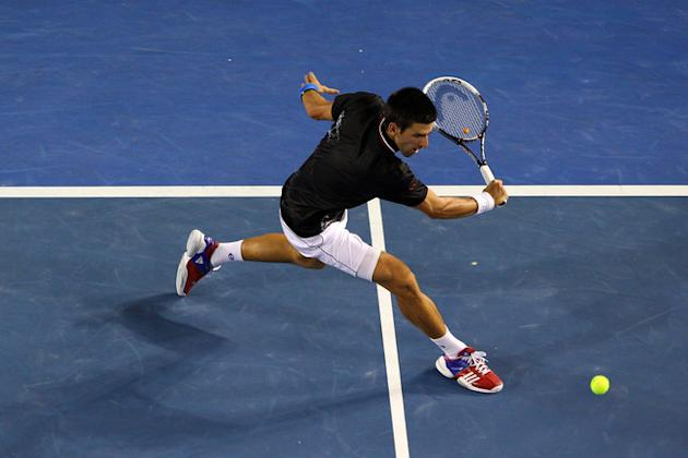 Novak Djokovic Of Serbia Plays Getty Images