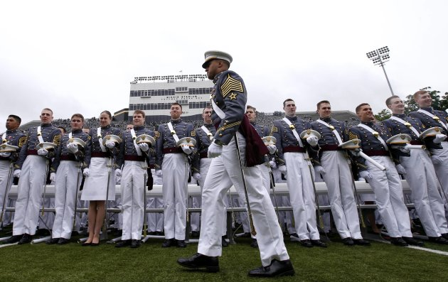 Graduated cadets stand in formation before being released at the conclusion of graduation ceremonies at the United States Military Academy at West Point, New York