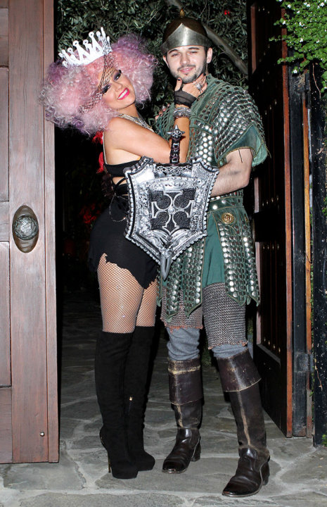 Christina Aguilera and new boyfriend Matthew Rutler head off to their Halloween party. Copyright [Splash]