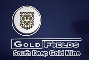 A Gold Fields Mine company logo is seen outside the South Deep Gold mine
