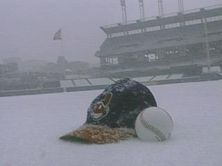 Cleveland snow and baseball opening days
