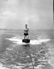 Speaking of old photos (yesterday) and people looking old (today), I am showing you this pic I unearthed of my great-grandma water-skiing on a giant board of some sort. RANDOM.