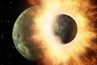 This artist's illustration depicts a giant impact between the early Earth and a Mars-size object, a cataclysmic collision thought to have created the moon about 4.5 billion years ago.