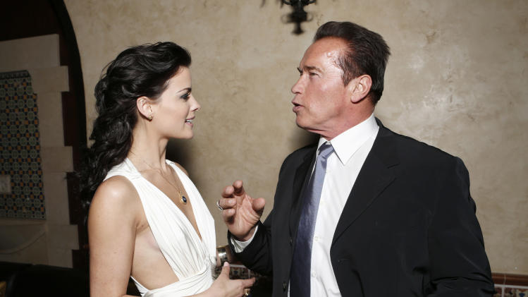 "Jaimie Alexander and Arnold Schwarzenegger attend the after party for the LA premiere of ""The Last Stand"" at Grauman's Chinese Theatre on Monday, Jan. 14, 2013, in Los Angeles. (Photo by Todd Williamson/Invision/AP)"