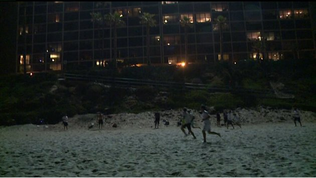 Playing Night Ultimate Frisbee At Pacific Beach