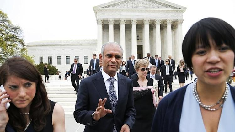Aereo CEO and founder Chet Kanojia departs the U.S. Supreme Court in Washington