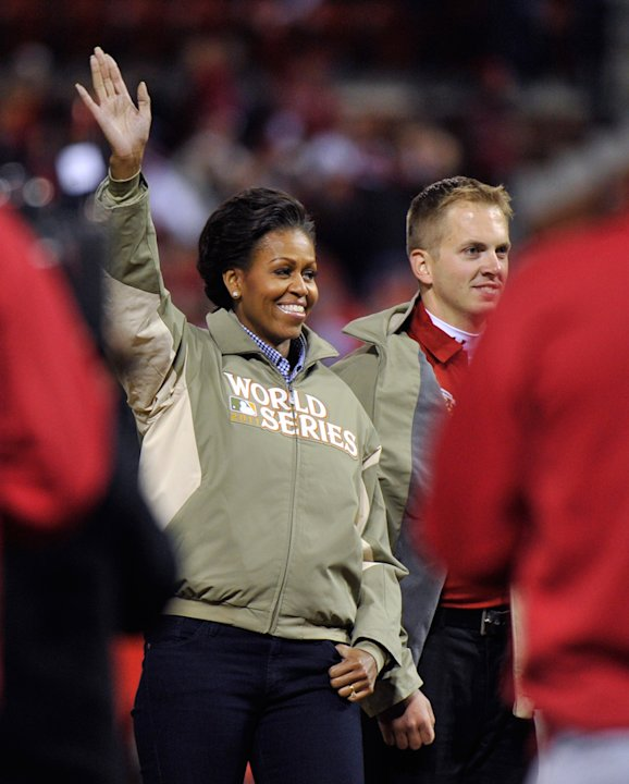Michelle Obama at the World Series baseball championship in St. Louis, Missouri, October 19, 2011.