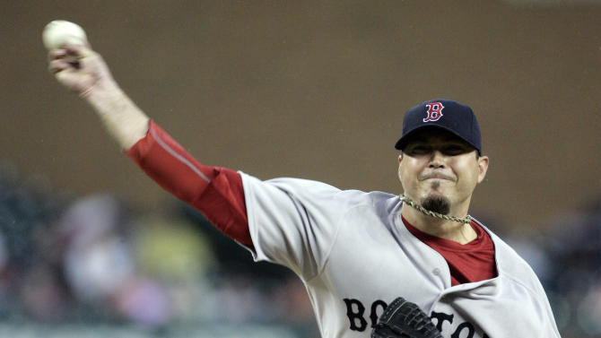 Boston Red Sox starter Josh Beckett pitches against the Detroit Tigers in the second inning of game two of a baseball double-header Sunday, May 29, 2011 in Detroit. (AP Photo/Duane Burleson)