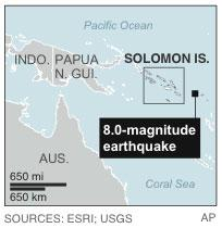 Updates location of epicenter; map locates an 8.0-magnitude earthquake that generated a 0.9 meter (3 feet) tsunami off the Solomon Islands