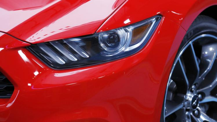 The new 2015 Ford Mustang headlight is pictured on ABC's Good Morning America during unveiling in New York