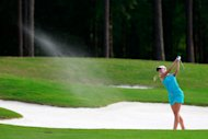 MOBILE, AL - MAY 18:  Jessica Korda watches her bunker shot on the 18th hole during round three of the Mobile Bay LPGA Classic at the Crossings Course at the Robert Trent Jones Trail at Magnolia Grove on May 18, 2013 in Mobile, Alabama.  (Photo by Chris Trotman/Getty Images)