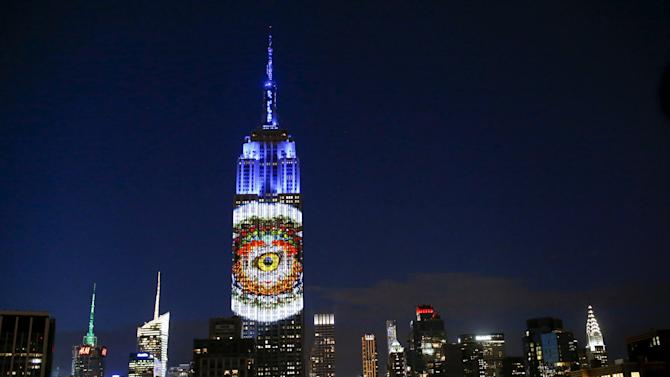 Images are projected onto the Empire State Building as part of an endangered species projection to raise awareness, in New York