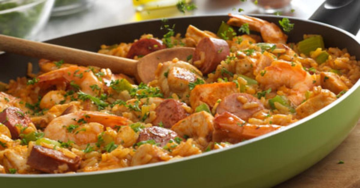 Louisiana Style Chicken Sausage & Shrimp Skillet
