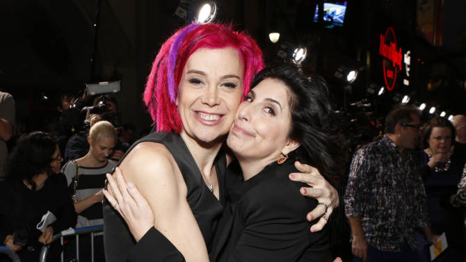 Co-director Lana Wachowski and Warner Bros. Pictures President of Worldwide Marketing Sue Kroll arrive at the Los Angeles premiere of 'Cloud Atlas' at Grauman's Chinese Theatre on October 24, 2012 in Hollywood, California.  (Photo by Todd Williamson/Invision/AP Images)