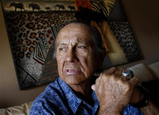 American Indian activist Russell Means poses for a portrait at his home in Scottsdale