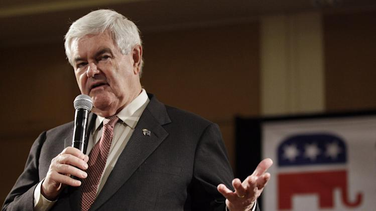 Republican presidential candidate, former House Speaker Newt Gingrich speaks at a town hall meeting with the state's Asian Republican leaders during the California Republican Party spring convention Saturday, Feb. 25, 2012 in Burlingame, Calif. (AP Photo/Marcio Jose Sanchez)