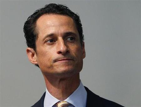 U.S. Rep. Anthony Weiner pauses as he announces that he will resign from the United States House of Representatives during a news conference in Brooklyn, New York