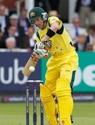 Australia's George Bailey plays a shot during the first One day International cricket match between England and Australia at Lord's cricket ground in London