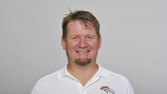 This is a 2012 photo of Matt Russell of the Denver Broncos NFL football team. The Broncos have suspended two executives who are facing drunken driving charges. Director of player personnel Russell was suspended indefinitely without pay Monday, July 15, 2013, and director of pro personnel Tom Heckert was suspended for a month without pay. (AP Photo/File)
