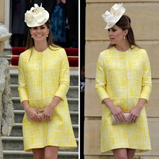 Kate Middleton brightened up the Queen's garden party in a Emilia Wickstead coat [Getty]