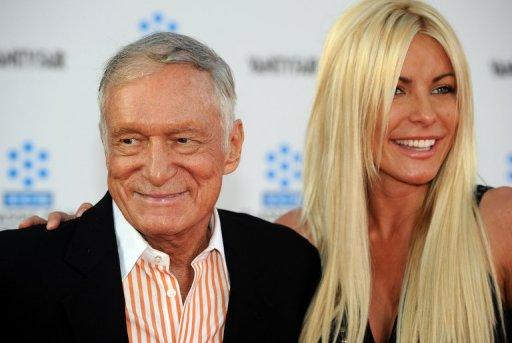 Playboy magazine founder Hugh Hefner with his 25-year-old former fiancee Crystal Harris