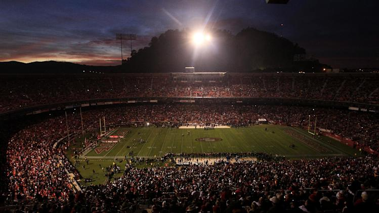 FILE - In this Dec. 19, 2011, file photo, Candlestick Park is dimly lit during a power outage before an NFL football game between the San Francisco 49ers and the Pittsburgh Steelers in San Francisco. (AP Photo/Jeff Chiu, File)