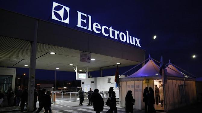 Electrolux factory workers join the union-led protest outside a factory in Porcia, northern Italy