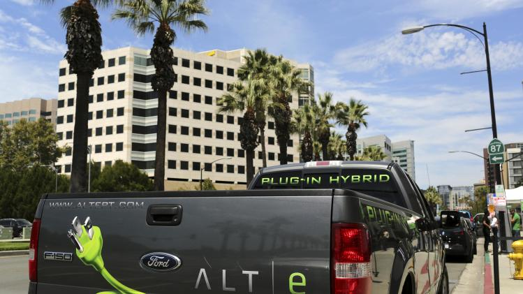Ford ALTe hybrid electric F-150 pickup truck is shown outside Electric Power Research Institute's Plug-In 2014 conference in San Jose