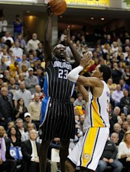 INDIANAPOLIS, IN - APRIL 28: Jason Richardson #23 of the Orlando Magic gets a shot off over Danny Granger #33 of the Indiana Pacers in Game One of the Eastern Conference Quarterfinals during the 2012 NBA Playoffs on April 28, 2012 at Bankers Life Fieldhouse in Indianapolis, Indiana. Orlando won the game 81-77 to take a 1-0 series lead. (Photo by Gregory Shamus/Getty Images)