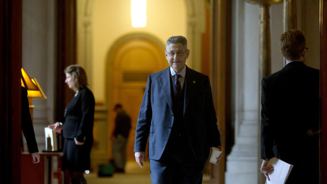 Assembly Speaker Sheldon Silver, D-Manhattan, walks to Gov. Andrew Cuomo's office at the Capitol on Tuesday, Jan. 15, 2013, in Albany, N.Y. The Assembly today is expected to pass New York's Secure Ammunition and Firearms Enforcement Act which passed in the Senate last night. (AP Photo/Mike Groll)