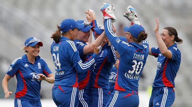 Anya Shrubsole, third left, claimed career-best one-day figures of five for 17 as England defeated South Africa