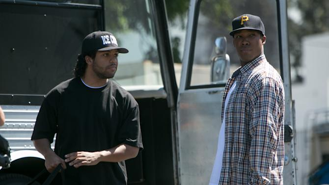 "This photo provided by Universal Pictures shows, O'Shea Jackson, Jr., left, as Ice Cube and Corey Hawkins as Dr. Dre, in the film, ""Straight Outta Compton.""  (Jaimie Trueblood/Universal Pictures via AP)"