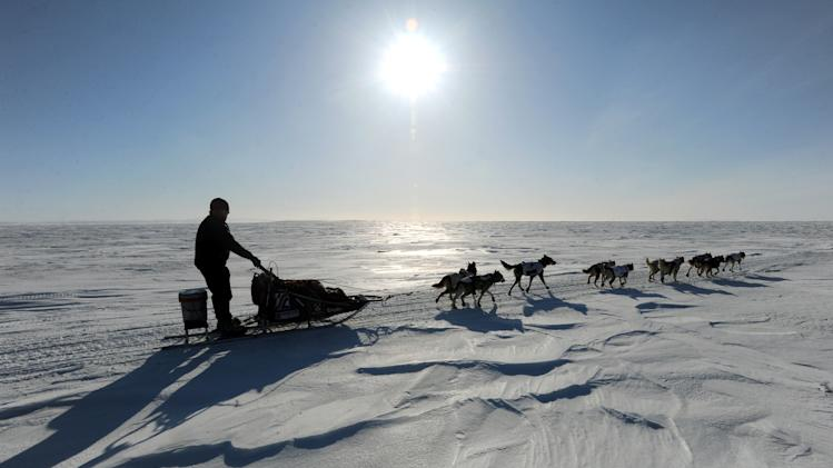 Aily Zirkle drives her dog team towards Elim after leaving the checkpoint at Koyuk in Alaska  during the Iditarod Trail Sled Dog Race on Monday, March 11, 2013. (AP Photo/The Anchorage Daily News, Bill Roth)