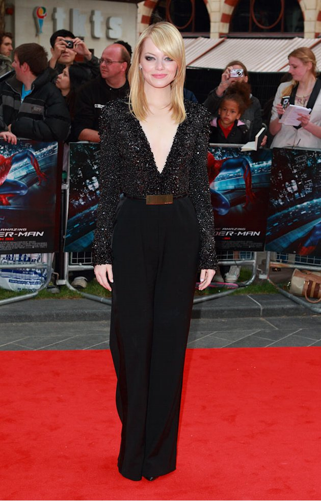 "Emma Stone at the UK gala premiere of "" The Amazing Spider-Man"""