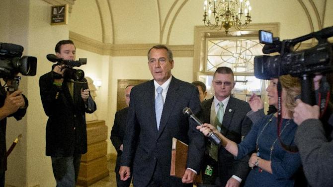 """FILE - In this March 1, 2013, file photo Speaker of the House John Boehner, R-Ohio, arrives at the Capitol after meeting with President Barack Obama and top congressional leaders at the White House hours before billions of dollars in mandatory budget cuts are to start. Republican leaders in Congress say one tax increase a year is enough. """"The president got his tax hikes,"""" Boehner told reporters. """"How much more money do we want to steal from the American people to fund more government? I'm for no more."""" (AP Photo/J. Scott Applewhite, File)"""