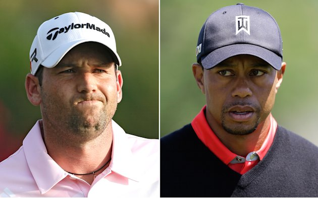 FILE - At left, in a May 5, 2013 file photo, Sergio Garcia grimaces during The Players Championshop golf tournament in Ponte Vedra Beach, Fla. At right, in a March 25, 2013 file photo, Tiger Woods wal