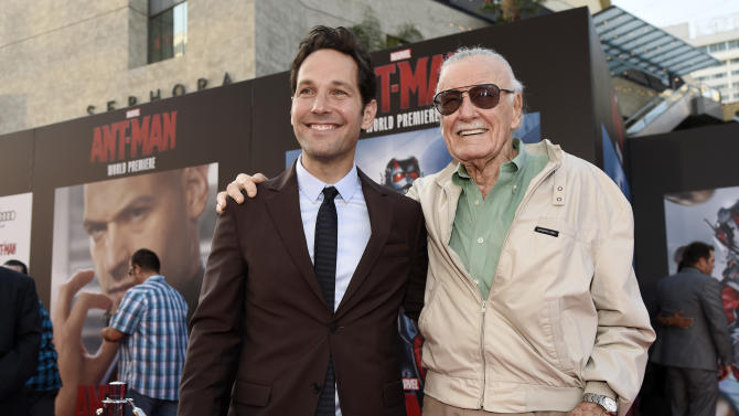"""Paul Rudd, left, star of the film """"Ant-Man,"""" poses with executive producer Stan Lee at the premiere of the film at the Dolby Theatre on Monday, June 29, 2015, in Los Angeles. (Photo by Chris Pizzello/Invision/AP)"""