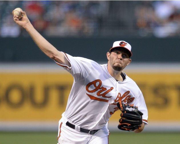 Baltimore Orioles Hammel pitches in the second inning against the New York Yankees during their MLB American League baseball game in Baltimore
