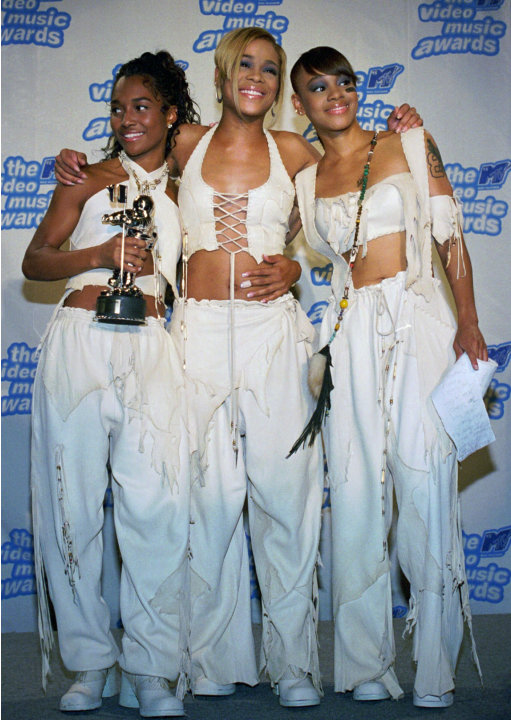 FILE - In this Sept. 7, 1995 file photo, the band TLC, from left, Rozanda &quot;Chilli&quot; Thomas, Tionne &quot;T-Boz&quot; Watkins and Lisa &quot;Left Eye&quot; Lopes, pose for photographers backstage at New York's Radio City M