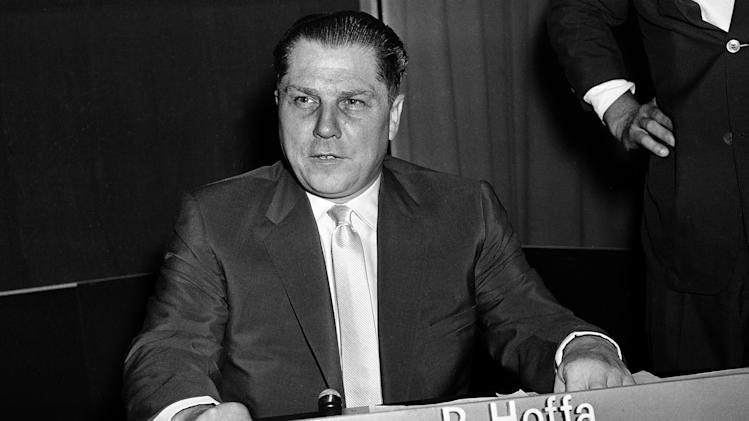 FILE - This July 26, 1959 file photo of Teamsters Union president Jimmy Hoffa in Washington. Tony Zerilli, convicted of crimes as a reputed Mafia captain, has come forward with claims that missing Teamsters boss was buried in suburban Detroit. The former head of the FBI in Detroit said Zerilli was reputed to be the underboss of the Detroit organized crime family, so he would have been in the know. Hoffa disappeared from a Detroit-area restaurant in 1975. (AP Photo, File)