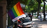 "A rainbow flag displaying the words ""Viet Pride"" at a Lesbian Gay Bisexual and Transgender (LGBT) community event in Hanoi on August 4, 2012"