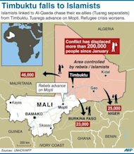 &lt;p&gt;Map of Mali locating Islamist/rebel held towns, with data on refugee movements. The UN Security Council called for an immediate ceasefire and return to democracy in Mali, prompting an announcement of an end to &quot;military operations&quot; by Tuareg rebels in the north.&lt;/p&gt;