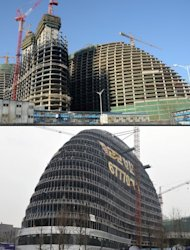 Zaha Hadid&#39;s Wangjing SOHO building in Beijing (top), and the Meiquan 22nd Century building (below) in Chongqing. Already famed for fake designer bags and pirated DVDs, imitation in China may have reached new heights with a set of towers that strongly resemble ones designed by renowned architect Hadid