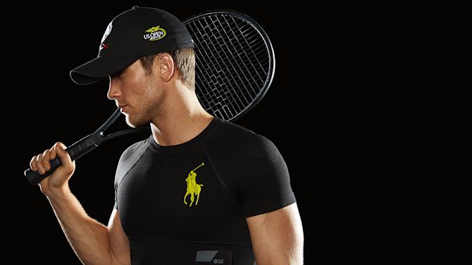This product image released by Ralph Lauren shows the new Polo Tech compression shirt. The garment offers smart technology to send heartbeat, respiration, stress levels and other data to tablets and smartphones. (AP Photo/Ralph Lauren)