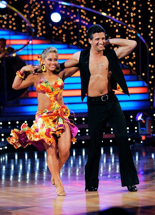 "Shawn Johnson and Mark Ballas perform the Salsa to ""Las Muchachas"" by Johnny Pacheco on ""Dancing with the Stars."""