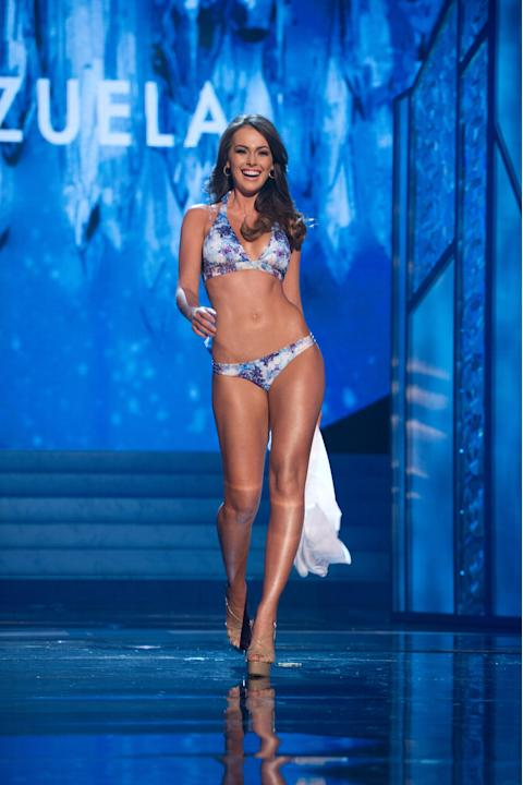 Miss Universe Venezuela 2012, Irene Sofía Esser Quintero, competes in Kooey Australia swimwear and Chinese Laundry shoes as one of the top 16 contestants during this year's LIVE NBC Telecast of the 20