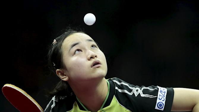 Japan's Mima Ito serves against Columbia's Paula Medina in their women's singles first round match at the World Table Tennis Championships in Suzhou